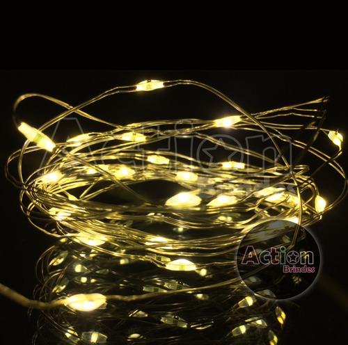 arame fio de led decoração para festas 2,7 metros com pilhas