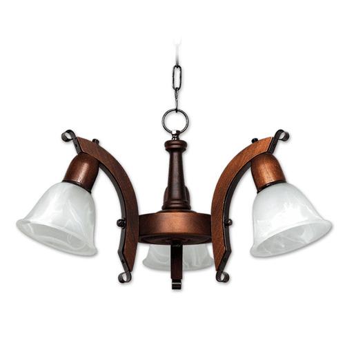 araña 3 luces madera rustica nogal y tulipa murano