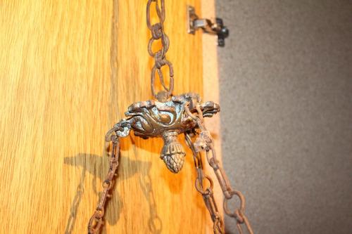 araña antigua bronce y vidrio tallado