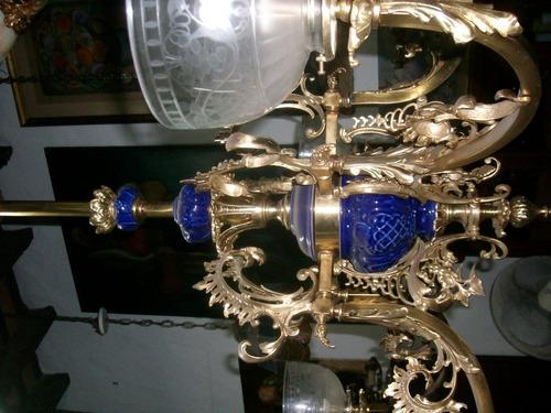 araña bronce y ceramica
