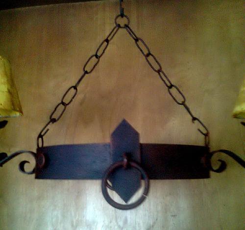 araña colgante de 2 luces en hierro rustico oferta!!!