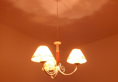 araña colgante - hierro - patina blanca - 3 luces
