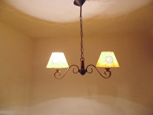araña colgante rustica de 2 luces en hierro oferta!!!