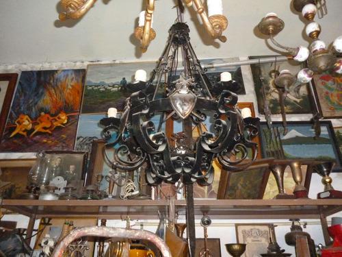 araña colonial hierro forjado original circa/1900 55dmx70alt