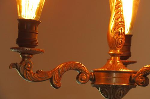 araña de bronce. 3 luces.