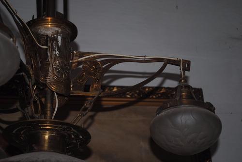 araña de bronce antigua art nouveau francesa de 1915 lampara