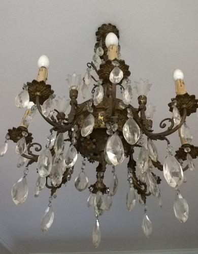 araña de bronce con caireles y 8 lámparas ó luces - la plata