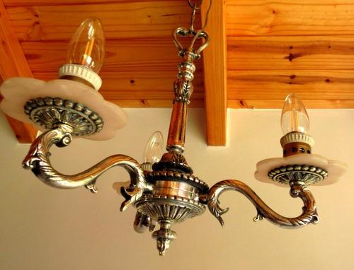 araña de bronce niquelado. 3 luces. el restaurador