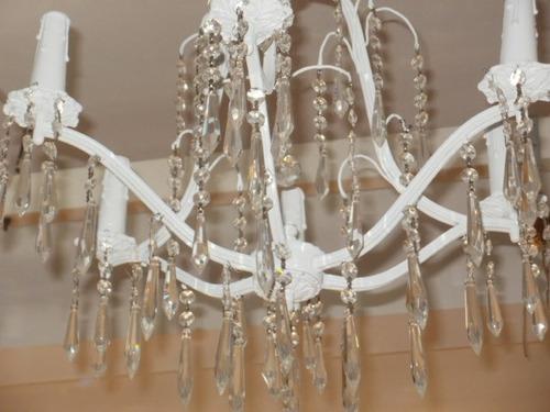 araña de bronce pintada de blanco 6 luces muy original!!!!