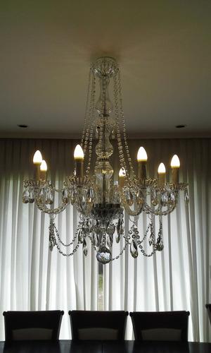 araña de cristal 8 luces nueva pronta para colgar!!!