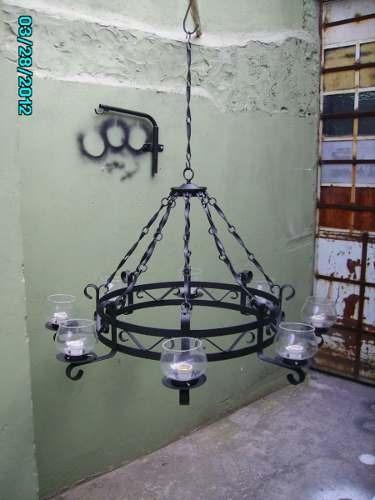 araña de hierro artesanal 8 luces lamparas
