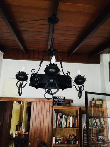 araña de hierro forjado antigua restaurada excelente estado