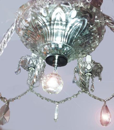 araña de vidrio tallado 3 brazos con caireles