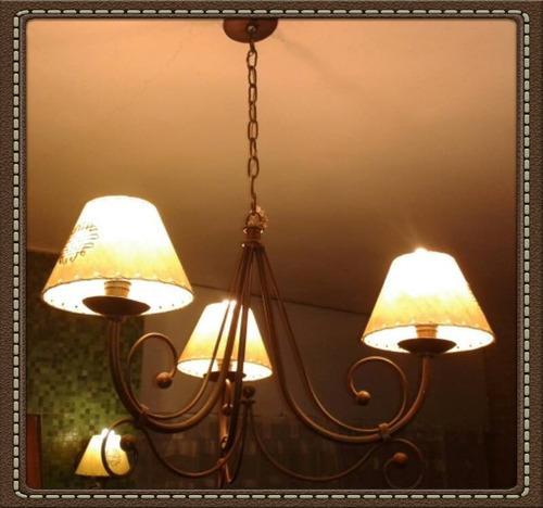 araña en hierro rustico  de 3 luces,oferta!!!