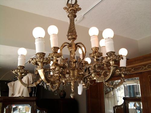 araña española antigua de bronce con 12 luces