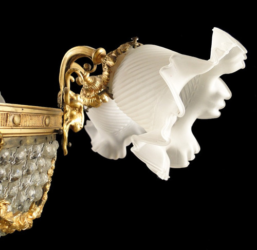 araña francesa est. imperio bronce cincelado canasta vidrios