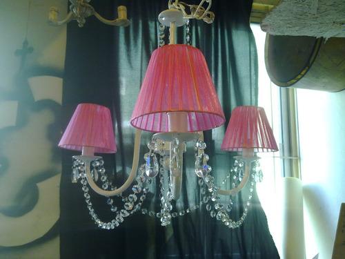 araña hierro forjado con caireles,fabrica iluminacion,3luces