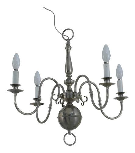 araña holandesa mediana 4 luces de bronce