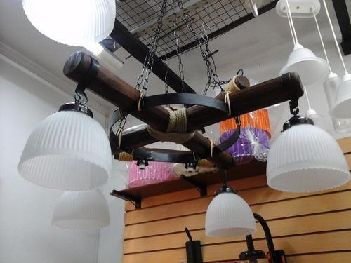 araña lampara colgante estilo campo 4 luces