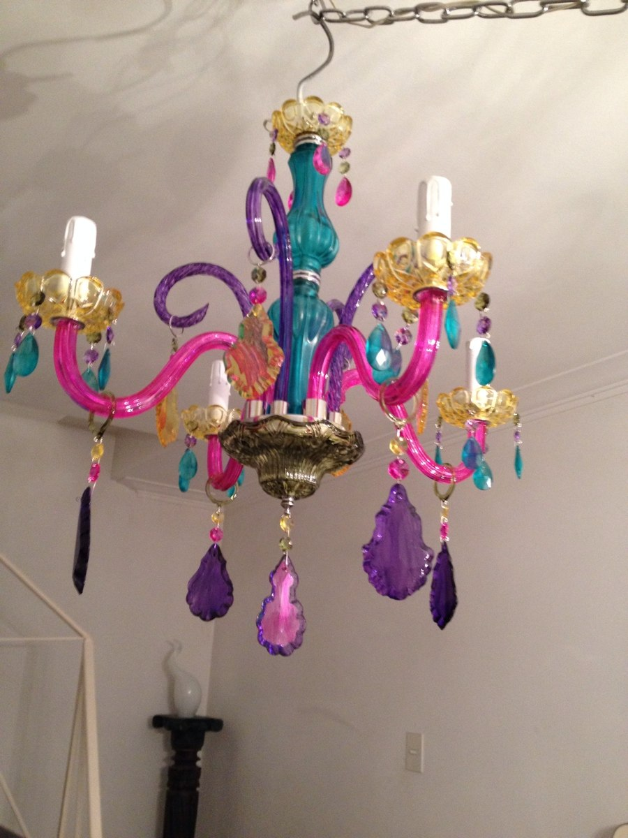 Lamparas de cristal de colores araa y lamparas en vidrio de colores lmparas con botellas de - Lampara arana colores ...