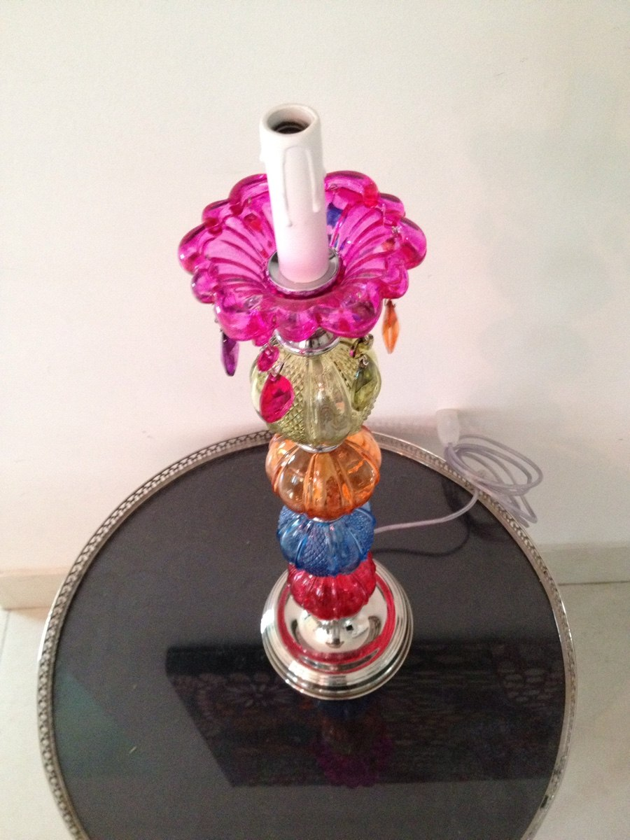 araa y lamparas en vidrio de colores