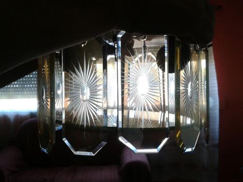 arañas y portátiles. bronce y vidrio tallado y biselado