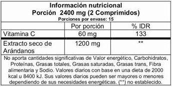 arandanos vita tech, poderoso antioxidante 30 comprimidos