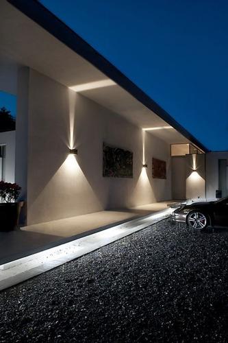 arandela 2 fachos luminária muro parede externa led 10w