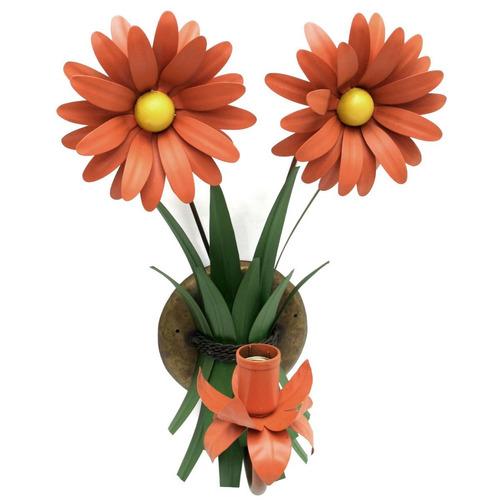 arandela artesanal ferro área externa flor laranja rústica