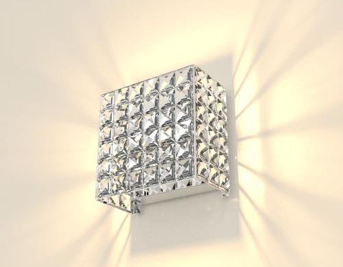 arandela de cristal 14cm sala parede escada hall 601m