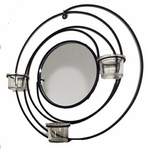 arandela espiral porta vela com espelho 0549