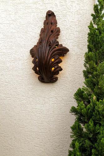 arandela folha ferro fundido luminária decoração antigo