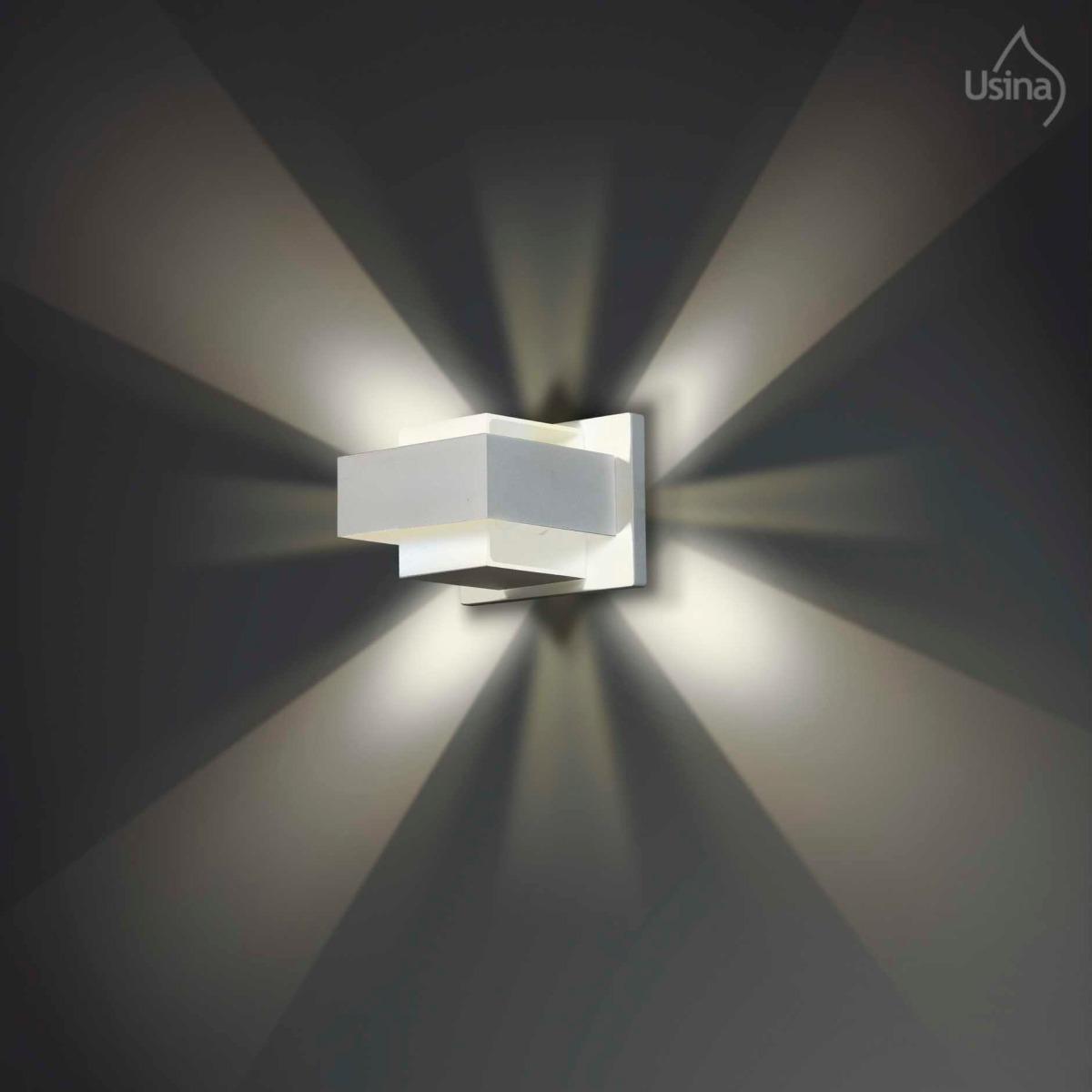 Arandela Interna Branca Retangular Parede Ilumina O Sala R 97  -> Luminarias De Parede Para Sala De Estar