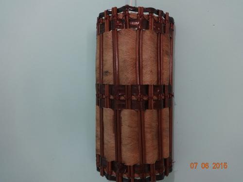 arandela meia lua fibra de coco, rusticas artesanais
