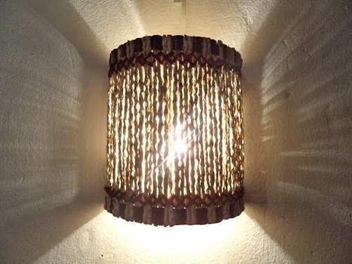 arandela meia lua p, luminárias rusticas artesanais