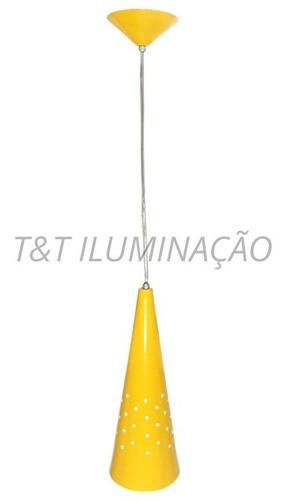arandela pendente cone alumínio amarelo