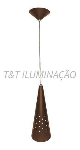 arandela pendente cone alumínio marrom