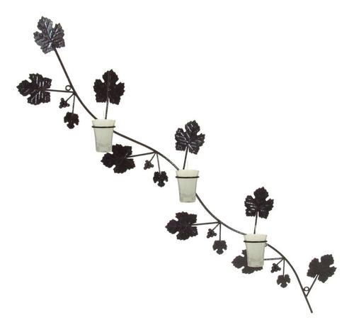 arandela ramo uva decorativa parede porta vela castiçal