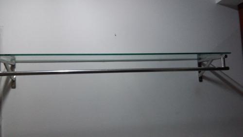 arara de parede inox - com suporte de prateleira - 1,20m.