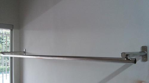 araras de parede para roupas - inox 304 - 1,20m