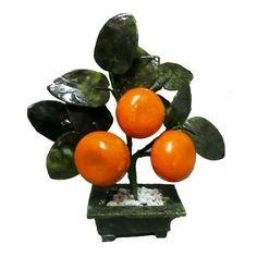 arbol 3 mandarinas en jade fruto de las riquezas feng shui