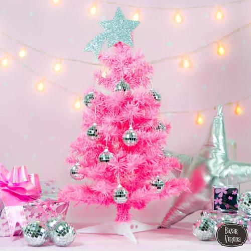 arbol arbolito navidad pink rosa con estrella y disco balls