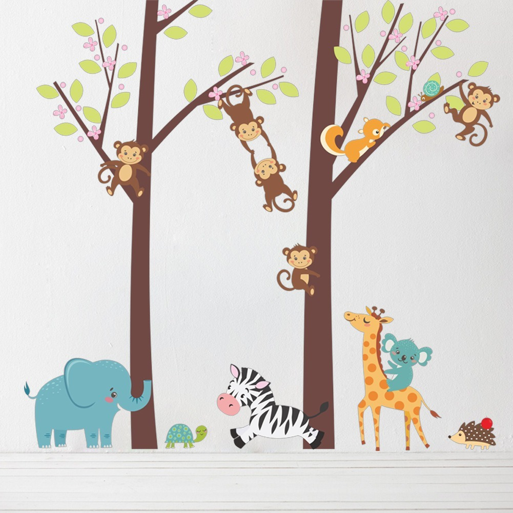 Changuitos Para Dibujar arbol changuitos y animales animados vinil decorativo pared