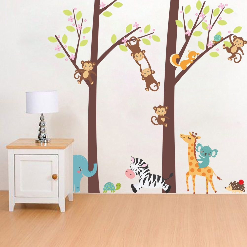 Arbol Changuitos Y Animales Animados Vinil Decorativo Pared