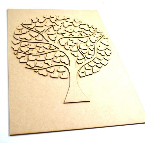 arbol de firmas con 100 corazones en mdf guest book art250
