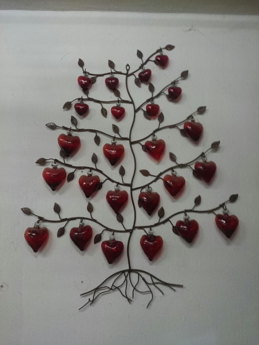 Rbol de herrer a para muro con corazones en vidrio - Arbol de navidad artesanal ...