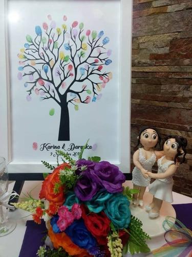 arbol de huellas boda  gratis cojin+instructivo+toallas