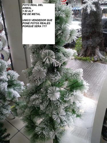 arbol de navidad 1.50 nevado  pie de metal  ¡fot0s reales ¡¡
