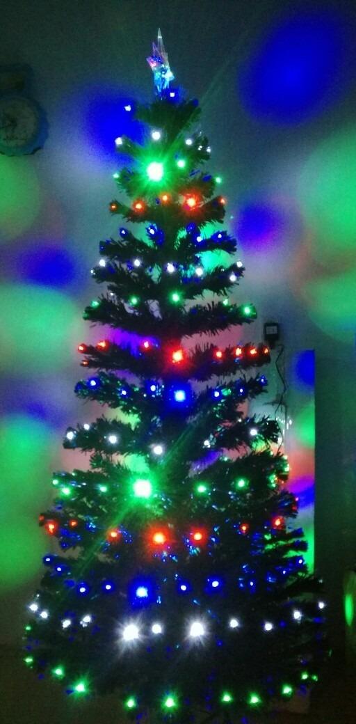 Arbol de navidad 1 8 metro luces led multicolor fibra for Luces led arbol navidad