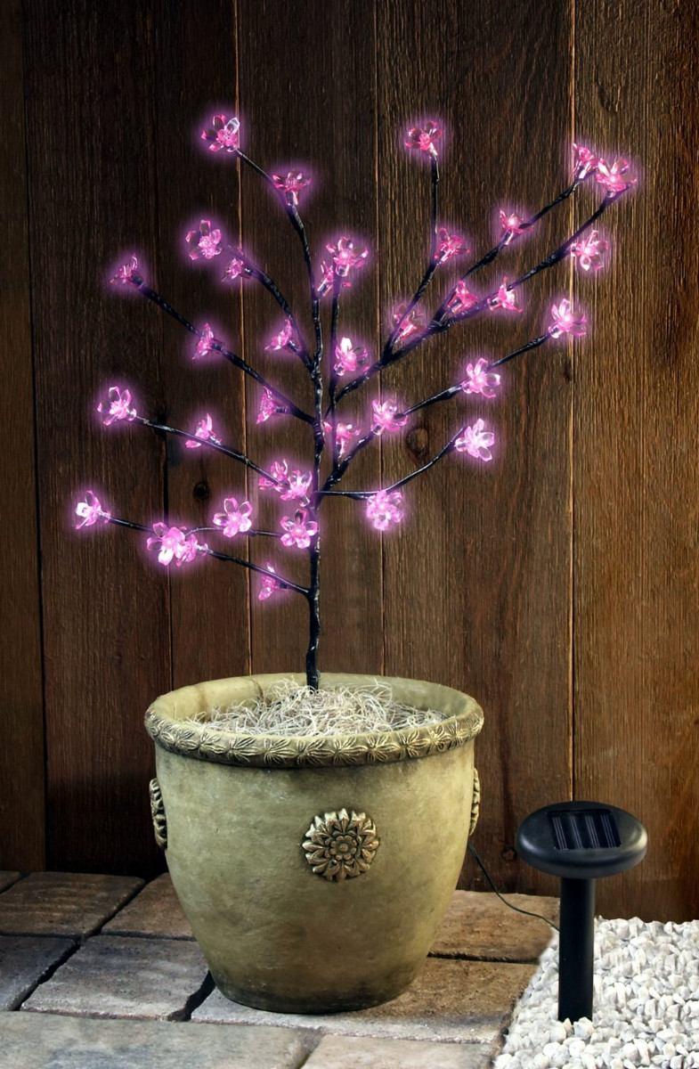Arbol de navidad 36 flores rosadas led solar navide o - Arbol navidad led ...